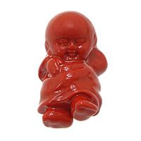 Cinnabaris Anhänger, Junge, natürlich, rot, 16x25x9mm, Bohrung:ca. 1mm, 10PCs/Menge, verkauft von Menge