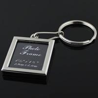 Zinklegierung Schlüsselanhänger, Quadrat, Platinfarbe platiniert, mit Foto-Medaillon, frei von Nickel, Blei & Kadmium, 34x40mm, 15PCs/Menge, verkauft von Menge