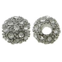 Strass Zinklegierung Perlen, rund, Platinfarbe platiniert, mit Strass, frei von Nickel, Blei & Kadmium, 10mm, Bohrung:ca. 3mm, 10PCs/Tasche, verkauft von Tasche