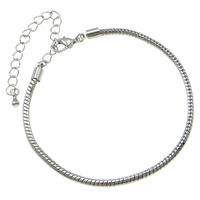Messing Armband-Cord, mit Verlängerungskettchen von 8cm, Platinfarbe platiniert, Schlangekette, frei von Nickel, Blei & Kadmium, 3mm, Länge:ca. 7.5 ZollInch, 10SträngeStrang/Tasche, verkauft von Tasche