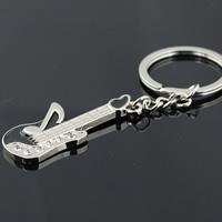 Zinklegierung Schlüsselanhänger, Gitarre, Platinfarbe platiniert, Emaille & mit Strass, schwarz, frei von Nickel, Blei & Kadmium, 53x23mm, 20PCs/Menge, verkauft von Menge