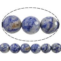 Blauer Tupfen Stein Perlen, blauer Punkt, rund, verschiedene Größen vorhanden & facettierte, Bohrung:ca. 0.8mm, Länge:ca. 15 ZollInch, verkauft von Menge