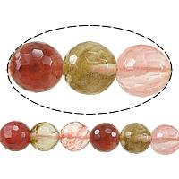 Wassermelone Glasperlen, rund, facettierte, gemischte Farben, 12mm, Bohrung:ca. 1.2mm, Länge:ca. 15 ZollInch, 10SträngeStrang/Menge, ca. 32PCs/Strang, verkauft von Menge