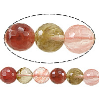 Wassermelone Glasperlen, rund, facettierte, gemischte Farben, 6mm, Bohrung:ca. 0.8mm, Länge:ca. 15 ZollInch, 10SträngeStrang/Menge, ca. 60PCs/Strang, verkauft von Menge