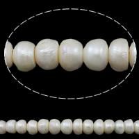 Button kultivierte Süßwasserperlen, Natürliche kultivierte Süßwasserperlen, Knopf, natürlich, weiß, 12-15mm, Bohrung:ca. 3mm, verkauft per ca. 14.5 ZollInch Strang