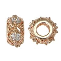 Messing European Perlen, Rondell, Rósegold-Farbe plattiert, Micro pave Zirkonia & ohne troll, frei von Nickel, Blei & Kadmium, 5.50x11x3mm, Bohrung:ca. 4.5mm, 15PCs/Menge, verkauft von Menge