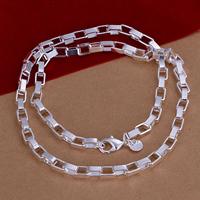 comeon® Schmuck Halskette, Messing, versilbert, Kastenkette, frei von Nickel, Blei & Kadmium, 5mm, verkauft per ca. 18 ZollInch Strang