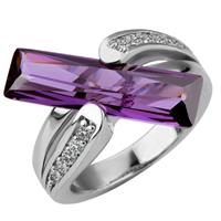comeon® Finger-Ring, Messing, platiniert, mit kubischem Zirkonia, frei von Nickel, Blei & Kadmium, 20x22mm, Größe:8, verkauft von PC
