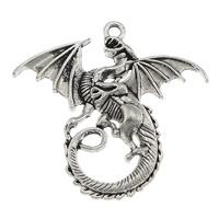 Zinklegierung Tier Anhänger, Drachen, antik silberfarben plattiert, frei von Nickel, Blei & Kadmium, 46x44mm, Bohrung:ca. 1-3mm, 200PCs/Menge, verkauft von Menge