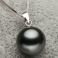 Tahiti Perlen Anhänger, mit Messing, rund, natürlich, verschiedene Größen vorhanden, schwarz, Bohrung:ca. 3x6mm, verkauft von PC