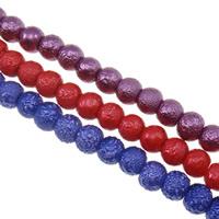 Satinierte Glasperlen, Glas, rund, Falten, gemischte Farben, 5X6mm, Bohrung:ca. 1mm, Länge:ca. 31.8 ZollInch, 10SträngeStrang/Tasche, verkauft von Tasche