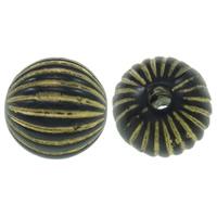 Golddruck Acryl Perlen, rund, gewellt & Volltonfarbe, schwarz, 10mm, Bohrung:ca. 2mm, ca. 1000PCs/Tasche, verkauft von Tasche