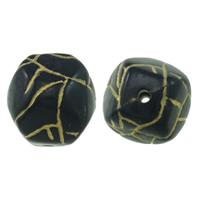 Golddruck Acryl Perlen, Klumpen, Volltonfarbe, schwarz, 19x19mm, Bohrung:ca. 2mm, ca. 100PCs/Tasche, verkauft von Tasche