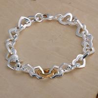 comeon® Schmuck Armband, Messing, Herz, plattiert, zweifarbig, frei von Nickel, Blei & Kadmium, 11mm, verkauft per ca. 8.2 ZollInch Strang
