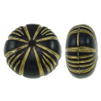 Golddruck Acryl Perlen, flache Runde, Volltonfarbe, schwarz, 12x7mm, Bohrung:ca. 1mm, ca. 1250PCs/Tasche, verkauft von Tasche