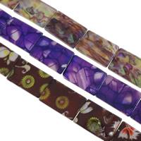 Natürliche Kunstdruck Muschelperlen, Süßwassermuschel, Rechteck, gemischte Farben, 20x30x3mm, Bohrung:ca. 1mm, Länge:ca. 11.8 ZollInch, ca. 20SträngeStrang/kg, ca. 10/Strang, verkauft von kg