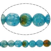 Geknister Achat Perle, rund, verschiedene Größen vorhanden & facettierte, blau, Bohrung:ca. 0.8-1mm, Länge:ca. 15.5 ZollInch, verkauft von Menge