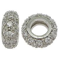 Messing European Perlen, Rondell, platiniert, Micro pave Zirkonia & ohne troll, frei von Nickel, Blei & Kadmium, 4x10x10mm, Bohrung:ca. 5mm, 10PCs/Menge, verkauft von Menge