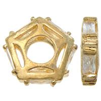 Kubischer Zirkonia Messing Perlen, Stern, plattiert, mit kubischem Zirkonia & hohl, keine, frei von Nickel, Blei & Kadmium, 12x3mm, Bohrung:ca. 1.5mm, verkauft von PC