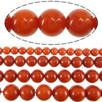 Natürliche Korallen Perlen, rund, verschiedene Größen vorhanden, rote Orange, Bohrung:ca. 0.5mm, Länge:ca. 16 ZollInch, verkauft von Menge