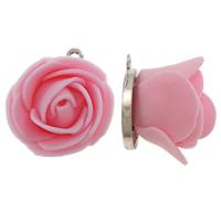 Polymer Ton Anhänger, Zinklegierung, mit Polymer Ton, Blume, antik silberfarben plattiert, Rosa, frei von Blei & Kadmium, 22.5x26x22mm, Bohrung:ca. 2mm, 10PCs/Tasche, verkauft von Tasche