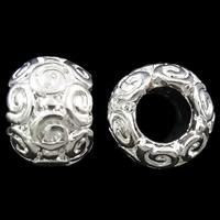 Zink Legierung Europa Perlen, Zinklegierung, Trommel, silberfarben plattiert, ohne troll, frei von Nickel, Blei & Kadmium, 8x10.5mm, Bohrung:ca. 5mm, 10PCs/Tasche, verkauft von Tasche