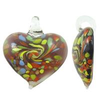 Goldfolie Lampwork Perlen, Herz, handgemacht, 36x41x13mm, Bohrung:ca. 5mm, 10PCs/Tasche, verkauft von Tasche