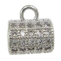 Messing Stiftöse Perlen, Zylinder, platiniert, Micro pave Zirkonia, frei von Nickel, Blei & Kadmium, 8x9x6mm, Bohrung:ca. 2mm, 20PCs/Menge, verkauft von Menge