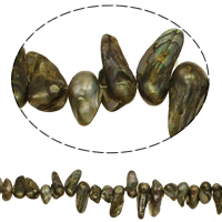 Kultivierte kernhaltige Süßwasserperlen, kultivierte Süßwasser kernhaltige Perlen, Keishi, olivgrün, 13-27mm, Bohrung:ca. 0.8mm, verkauft per ca. 14.2 ZollInch Strang