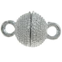 Zinklegierung Magnetverschluss, rund, Platinfarbe platiniert, mit Strass & Einzelstrang, frei von Nickel, Blei & Kadmium, 18x10mm, Bohrung:ca. 2mm, 10PCs/Tasche, verkauft von Tasche