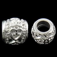 Zink Legierung Europa Perlen, Zinklegierung, Trommel, silberfarben plattiert, mit einem Muster von Herzen & ohne troll, frei von Nickel, Blei & Kadmium, 9x8mm, Bohrung:ca. 4.5mm, 10PCs/Tasche, verkauft von Tasche