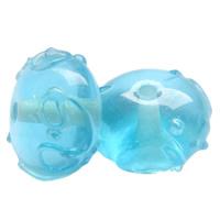 Holprige Lampwork Perlen, Rondell, handgemacht, uneben, hellblau, 13x9mm, Bohrung:ca. 1.5mm, 100PCs/Tasche, verkauft von Tasche