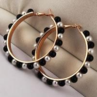 Zinklegierung Kreolen, mit Kunststoff Perlen, Edelstahl Stecker, Kreisring, goldfarben plattiert, keine, frei von Nickel, Blei & Kadmium, 58x58mm, verkauft von Paar