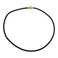 Mode Halskette Schnur, PU Leder, Edelstahl Magnetverschluss, plattiert, zweifarbig, schwarz, 17x10mm, 4mm, Länge:ca. 17 ZollInch, 20SträngeStrang/Menge, verkauft von Menge