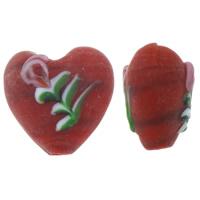 Holprige Lampwork Perlen, Herz, handgemacht, uneben & satiniert, farbenfroh, 15x16x11mm, Bohrung:ca. 1.5mm, 100PCs/Tasche, verkauft von Tasche