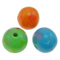 Harz Schmuckperlen, rund, gemischte Farben, 12mm, Bohrung:ca. 2mm, 1000PCs/Tasche, verkauft von Tasche