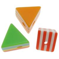 Gestreifte Harz Perlen, Dreieck, Streifen, gemischte Farben, 12x10x9mm, Bohrung:ca. 2mm, 1000PCs/Tasche, verkauft von Tasche