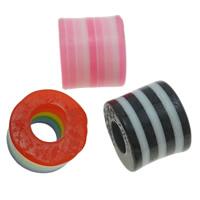 Gestreifte Harz Perlen, Zylinder, Streifen, gemischte Farben, 9x8mm, Bohrung:ca. 3.5mm, 1000PCs/Tasche, verkauft von Tasche