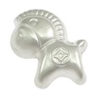 Befestiger Zirkonia Sterlingsilber Perlen, 925 Sterling Silber, Pferd, stumpfmatt, 11x12x6.50mm, Bohrung:ca. 2mm, 50PCs/Menge, verkauft von Menge