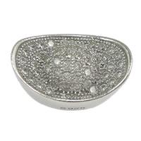 Befestiger Zirkonia Sterlingsilber Perlen, 925 Sterling Silber, Barren, Micro pave Zirkonia & hohl, 14x9x7mm, Bohrung:ca. 2mm, 3PCs/Menge, verkauft von Menge