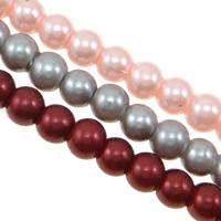 Perlmuttartige Glasperlen, rund, Einbrennlack, gemischte Farben, 6mm, Bohrung:ca. 1mm, Länge:ca. 30.3 ZollInch, 10SträngeStrang/Tasche, ca. 128/Strang, verkauft von Tasche