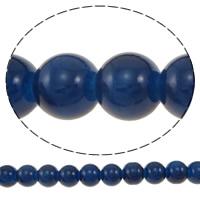 Einbrennlack Glasperlen, Glas, rund, blau, 10mm, Bohrung:ca. 1mm, Länge:ca. 30.5 ZollInch, 10SträngeStrang/Tasche, 82PCs/Strang, verkauft von Tasche