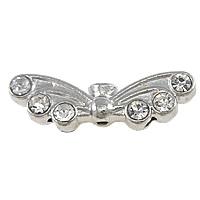Strass Messing Perlen, Flügelform, Platinfarbe platiniert, mit Strass, frei von Nickel, Blei & Kadmium, 22x7x4mm, Bohrung:ca. 1.5mm, 200PCs/Menge, verkauft von Menge