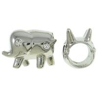 Edelstahl European Perlen, Elephant, ohne troll & mit Strass, originale Farbe, 15x11x9mm, Bohrung:ca. 5mm, verkauft von PC