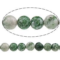 Grüner Tupfen Stein Perlen, grüner Punkt Stein, rund, natürlich, 6mm, Bohrung:ca. 0.8mm, Länge:ca. 15 ZollInch, 10SträngeStrang/Menge, ca. 60PCs/Strang, verkauft von Menge