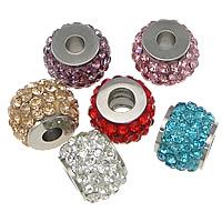Strass Perlen European Stil, 304 Edelstahl, mit Ton, Trommel, mit 64 Stück Strass, keine, 10x14x14mm, Bohrung:ca. 5.2mm, 10PCs/Menge, verkauft von Menge