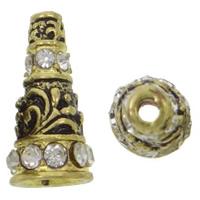 Zinklegierung Perlenkappe, Kegel, antike Goldfarbe plattiert, mit Strass, frei von Nickel, Blei & Kadmium, 10x20mm, Bohrung:ca. 2mm, 10PCs/Tasche, verkauft von Tasche