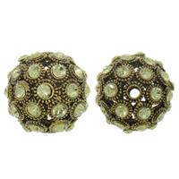 Strass Zinklegierung Perlen, rund, plattiert, mit Strass & hohl, keine, frei von Nickel, Blei & Kadmium, 26x28mm, Bohrung:ca. 3mm, verkauft von PC