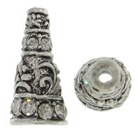 Zinklegierung Perlenkappe, Kegel, antik silberfarben plattiert, mit Strass, frei von Nickel, Blei & Kadmium, 10x20x10mm, Bohrung:ca. 2, 6mm, 10PCs/Tasche, verkauft von Tasche