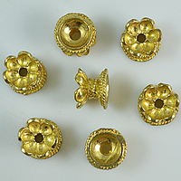 Messing Perlenkappe, Blume, doppelseitig, originale Farbe, frei von Nickel, Blei & Kadmium, 9.50x7mm, Bohrung:ca. 2mm, 100PCs/Menge, verkauft von Menge
